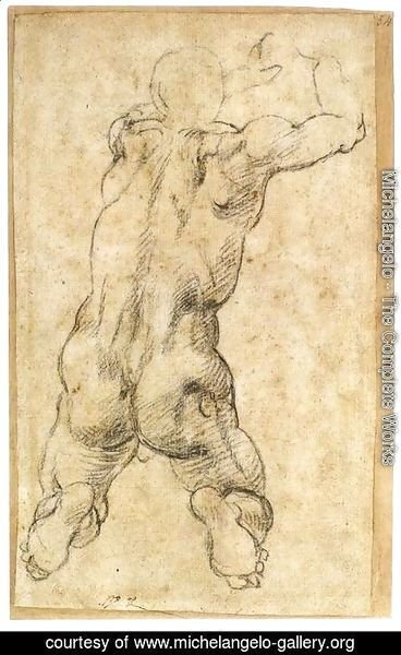 Michelangelo - Kneeling Male Nude, Seen from the Rear