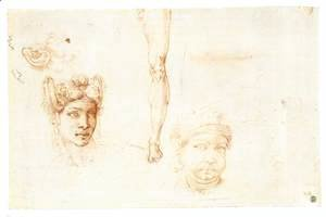 Michelangelo - Studies of Heads, an Ear, and a Leg (verso)