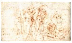 Michelangelo - Six Figures in Startled Postures (recto)