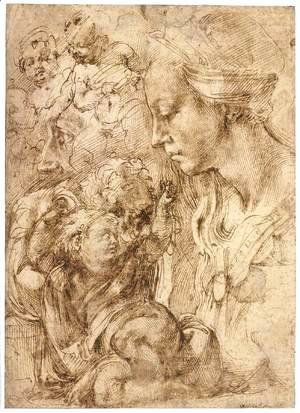 Michelangelo - Bust of the Virgin in Profile, the Child Reclining on a Cushion