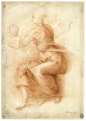 Michelangelo - Madonna and Child with the Infant St John (recto)