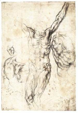 Michelangelo - Studies of the Crucified Christ (recto)