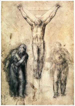 Michelangelo - Crucified Christ with Mary and John