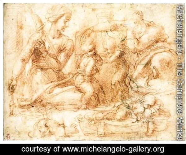 Michelangelo - Woman with a Distaff and Three Children (recto)