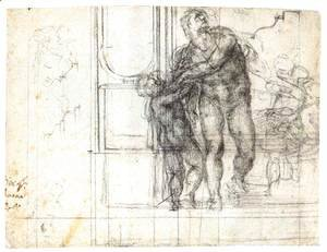 Michelangelo - Aeneas with a Boy (recto)