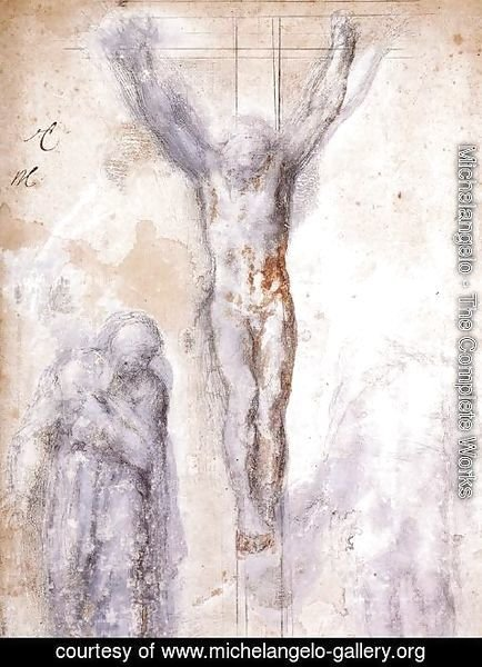 Michelangelo - Study of Christ on the Cross between the Virgin and St. John the Evangelist