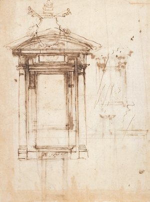 Michelangelo - Design for Laurentian library doors and an external window