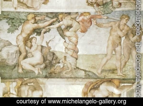 Michelangelo - Sistine Chapel Ceiling The Temptation and Expulsion