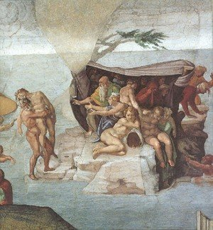 Michelangelo - Ceiling Of The Sistine Chapel  Genesis Noah 7 9  The Flood Right View