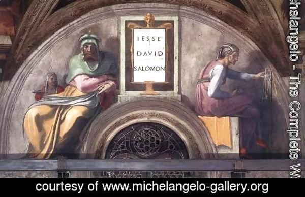 Michelangelo - Lunette XI   Jesse  David And Solomon  Sistine Chapel