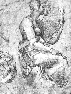 Michelangelo - Study of a Seated Woman