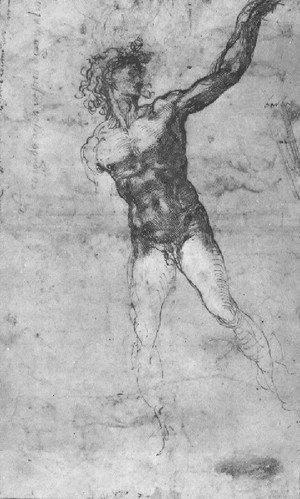 Michelangelo - Male Nude  Study For The Battle Of Cascina