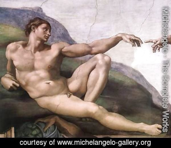 Michelangelo - Creation of Adam (detail-1) 1510