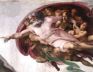 Michelangelo - Creation of Adam (detail-2) 1510