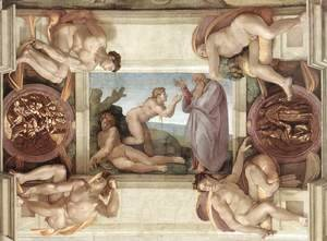 Michelangelo - Creation of Eve (with ignudi and medallions) 1509-10