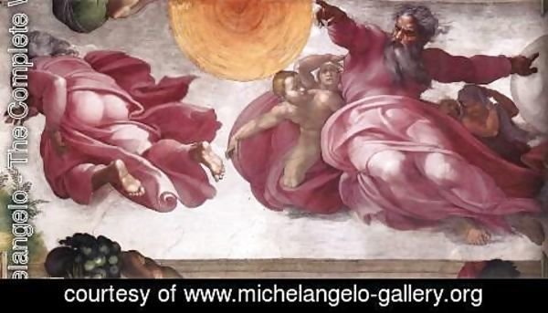 Michelangelo - Creation of the Sun, Moon, and Plants 1511