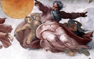 Michelangelo - Creation of the Sun, Moon, and Plants (detail-1) 1511