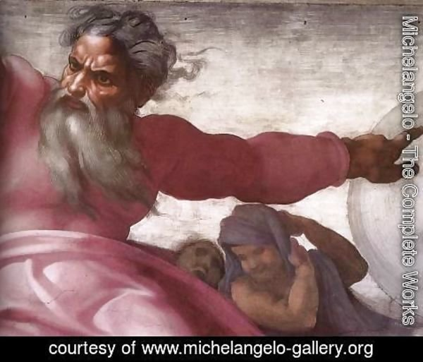 Michelangelo - Creation of the Sun, Moon, and Plants (detail-4) 1511