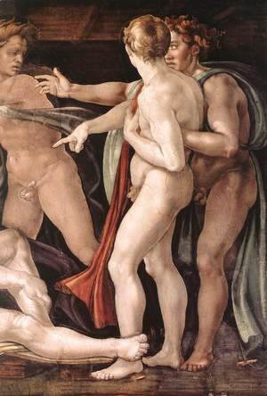 Michelangelo - Drunkenness of Noah (detail-2) 1509