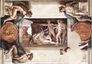 Michelangelo - Drunkenness of Noah (with ignudi and medallions) 1509