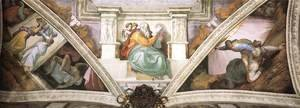 Michelangelo - Frescoes above the entrance wall 1508-12