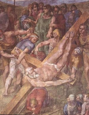 Michelangelo - Martyrdom of St Peter (detail-1) 1546-50