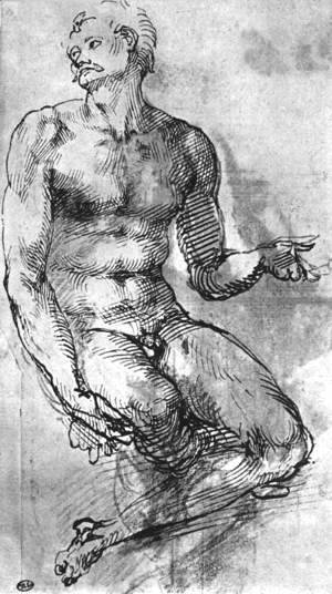 Michelangelo - Nude Man from the Front 1510-11