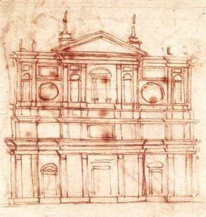 Michelangelo - Project for the facade of San Lorenzo, Florence c. 1517