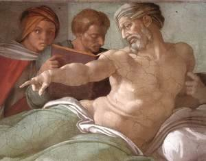 Michelangelo - Punishment of Haman (detail-2) 1511