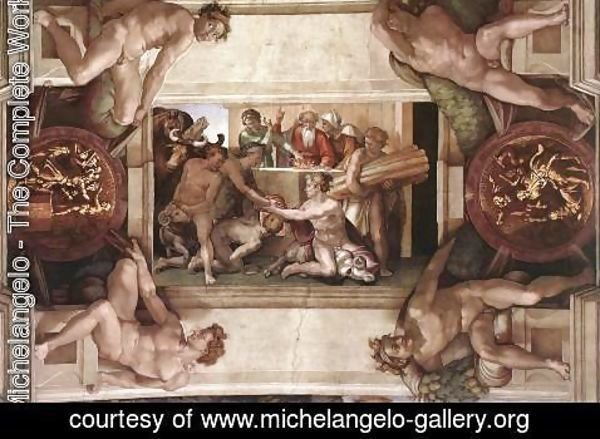 Michelangelo - Sacrifice of Noah (with ignudi and medallions) 1509