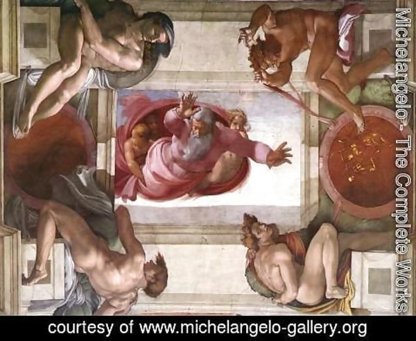 Michelangelo - Separation of the Earth from the Waters (with ignudi and med Caallions) 1511