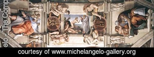 Michelangelo - The ceiling (detail-1) 1508-12