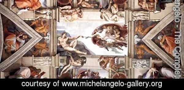Michelangelo - The ceiling (detail-2) 1508-12