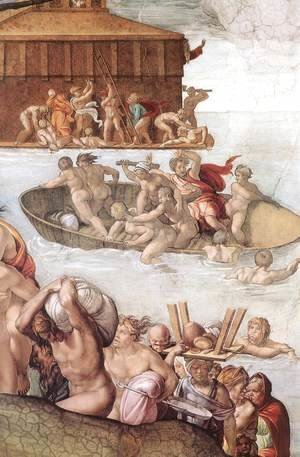 Michelangelo - The Deluge (detail-2) 1508-09