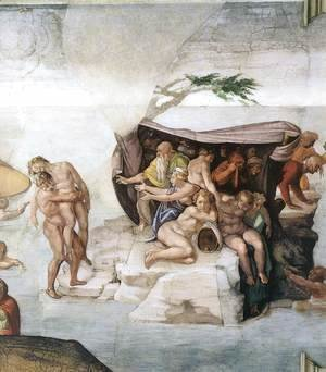 Michelangelo - The Deluge (detail-3) 1508-09