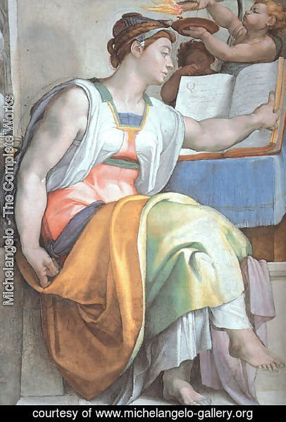 Michelangelo - The Erythraean Sibyl (detail-3)  1508-12