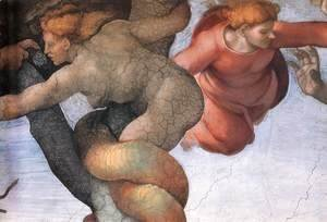 Michelangelo - The Fall and Expulsion from Garden of Eden (detail-1) 1509-10