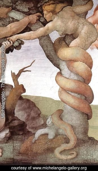 Michelangelo - The Fall and Expulsion from Garden of Eden (detail-2) 1509-10