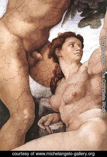 Michelangelo - The Fall and Expulsion from Garden of Eden (detail-4) 1509-10