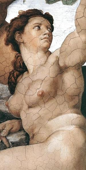 Michelangelo - The Fall and Expulsion from Garden of Eden (detail-5) 1509-10
