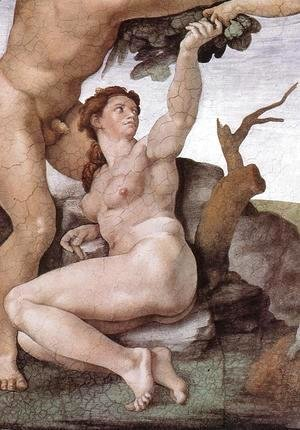 Michelangelo - The Fall and Expulsion from Garden of Eden (detail-6) 1509-10
