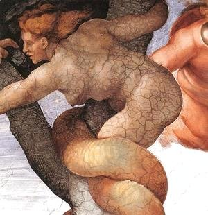 Michelangelo - The Fall and Expulsion from Garden of Eden (detail-7) 1509-10