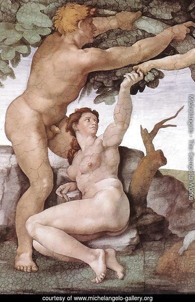The Fall and Expulsion from Garden of Eden (detail-8) 1509-10