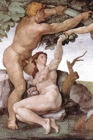 Michelangelo - The Fall and Expulsion from Garden of Eden (detail-8) 1509-10