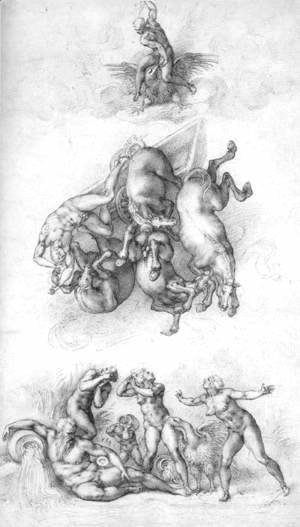 Michelangelo - The Fall of Phaeton c. 1533