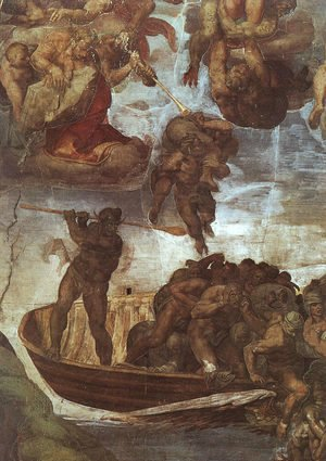 Michelangelo - Last Judgement, detail of the Boatman Charon  1536-41